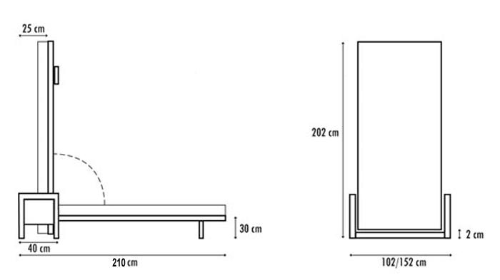 CUBED vippeseng Ytre mål ved stående/vertikal montering.
