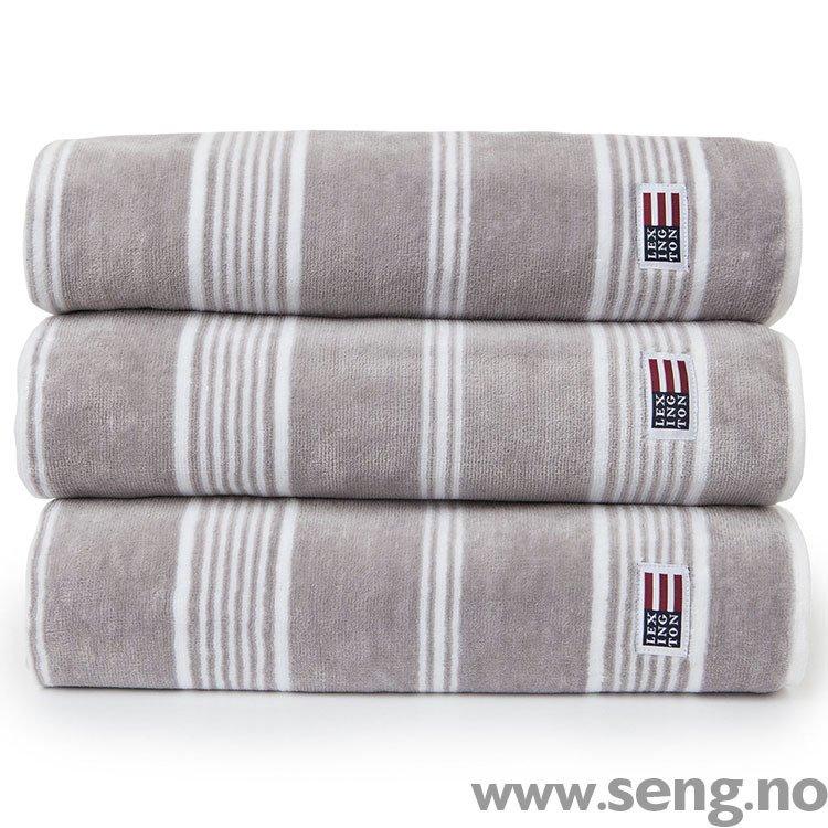 Håndkle ''Striped Velour Dark Gray/White''