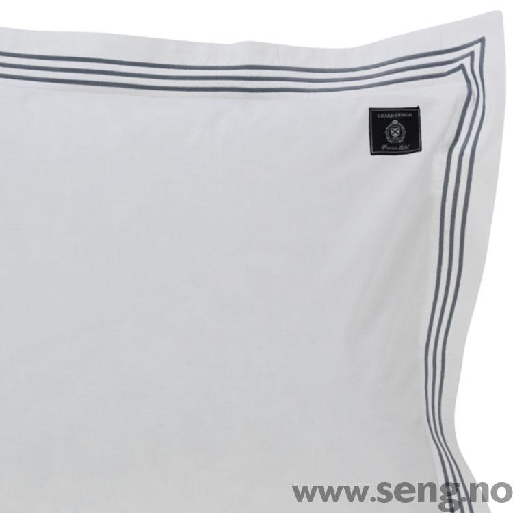 Sengetøy ''Bedford'' White M/Grå Søm